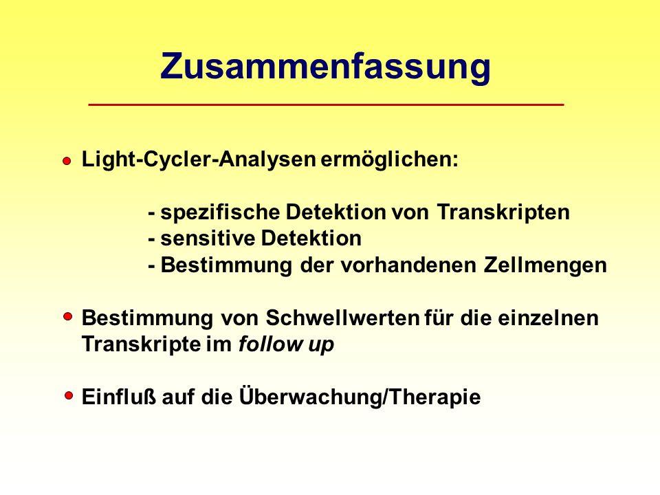 Zusammenfassung Light-Cycler-Analysen ermöglichen: