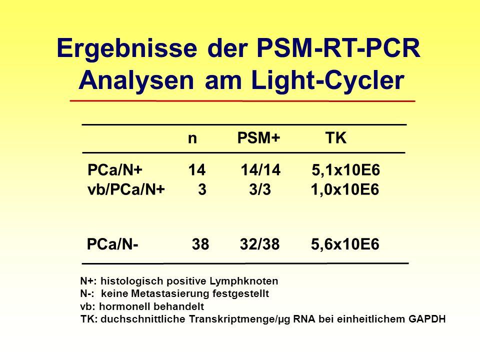 Ergebnisse der PSM-RT-PCR Analysen am Light-Cycler