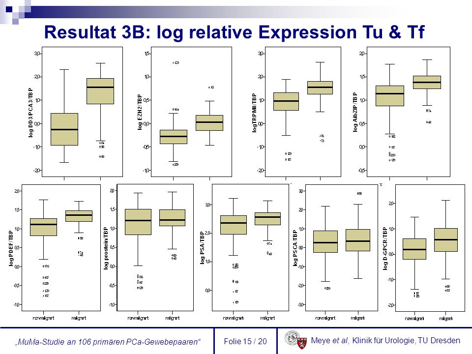 Resultat 3B: log relative Expression Tu & Tf