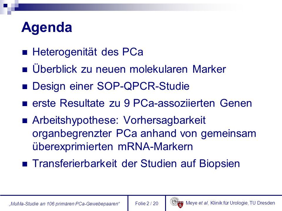 Agenda Heterogenität des PCa Überblick zu neuen molekularen Marker