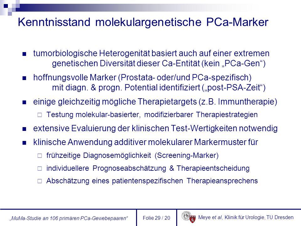 Kenntnisstand molekulargenetische PCa-Marker
