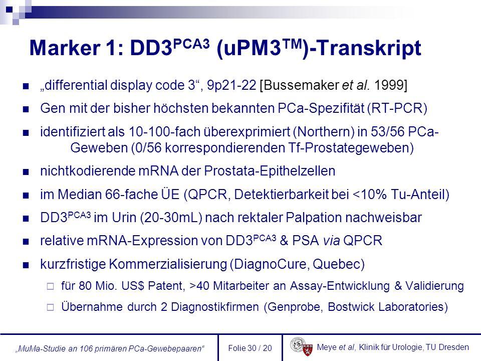 Marker 1: DD3PCA3 (uPM3TM)-Transkript