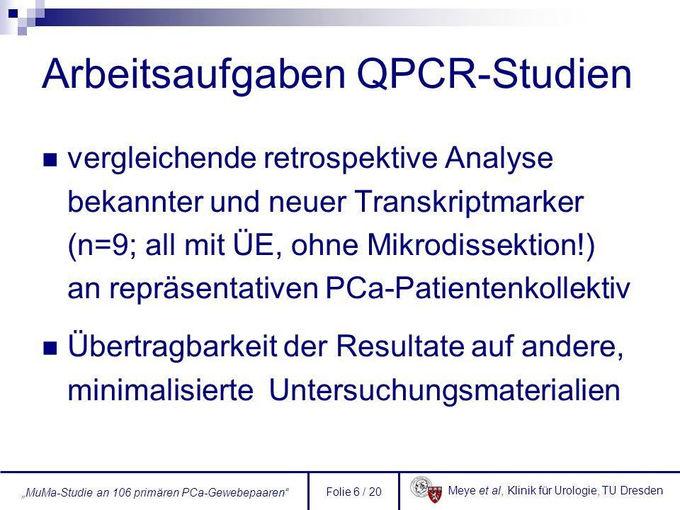 Arbeitsaufgaben QPCR-Studien