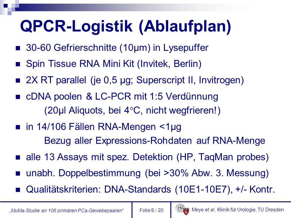QPCR-Logistik (Ablaufplan)