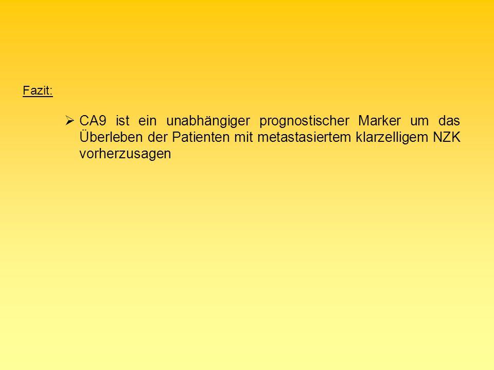 Fazit: CA9 ist ein unabhängiger prognostischer Marker um das Überleben der Patienten mit metastasiertem klarzelligem NZK vorherzusagen.