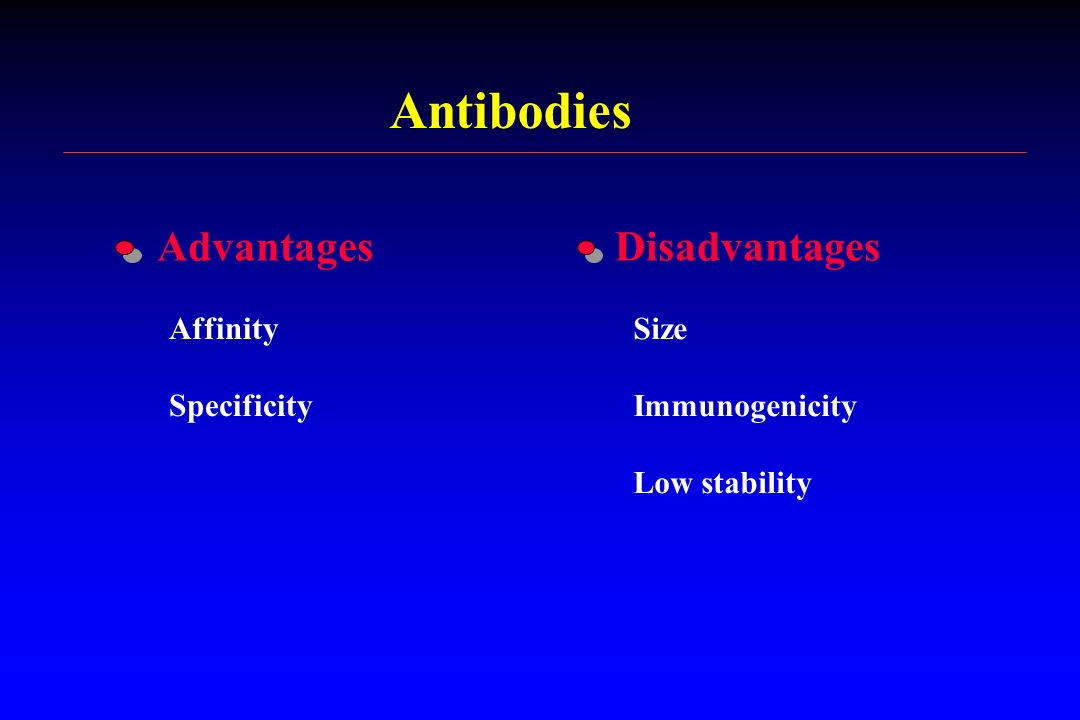 Antibodies Advantages Disadvantages Affinity Specificity Size