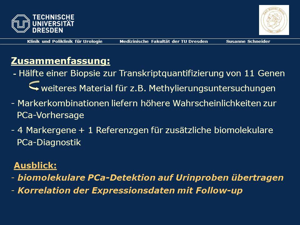 Klinik und Poliklinik für Urologie Medizinische Fakultät der TU Dresden Susanne Schneider