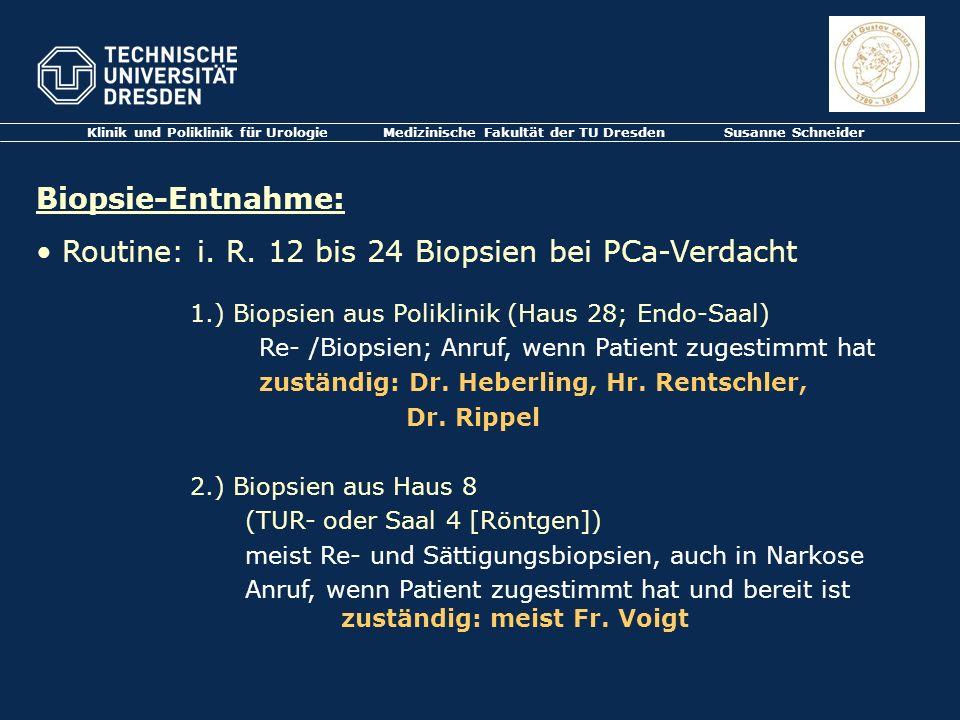 Routine: i. R. 12 bis 24 Biopsien bei PCa-Verdacht