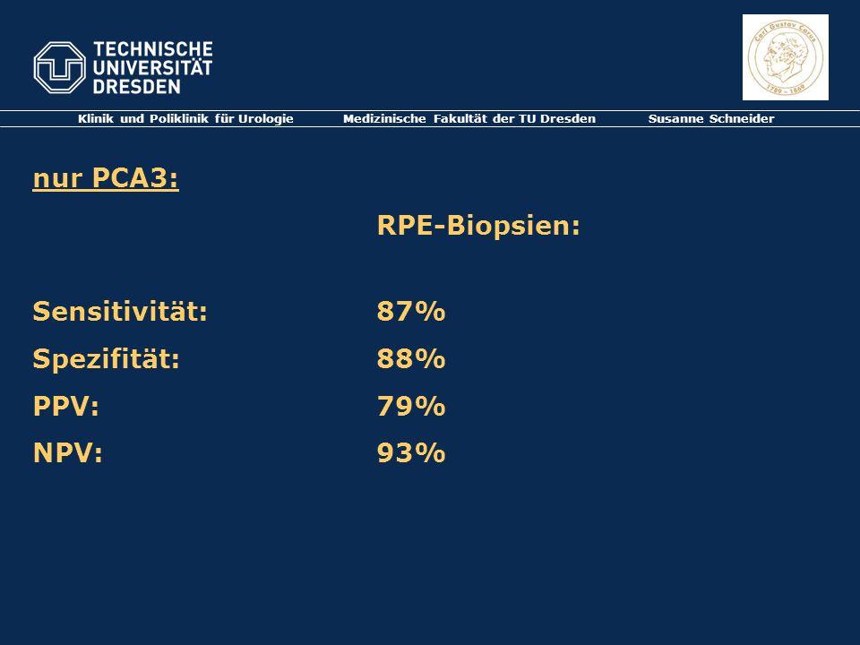 nur PCA3: RPE-Biopsien: Sensitivität: 87% Spezifität: 88% PPV: 79%