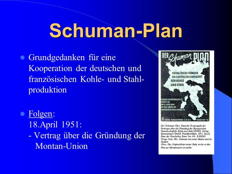 Schuman-Plan Grundgedanken für eine Kooperation der deutschen und französischen Kohle- und Stahl- produktion.