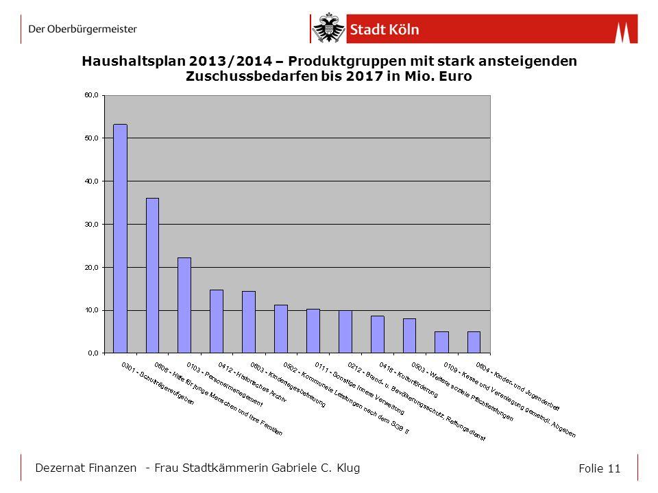Haushaltsplan 2013/2014 – Produktgruppen mit stark ansteigenden Zuschussbedarfen bis 2017 in Mio. Euro