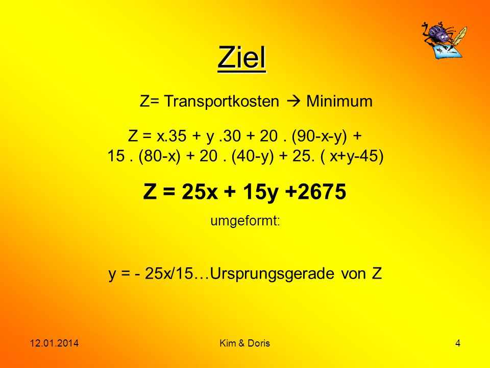 Z= Transportkosten  Minimum