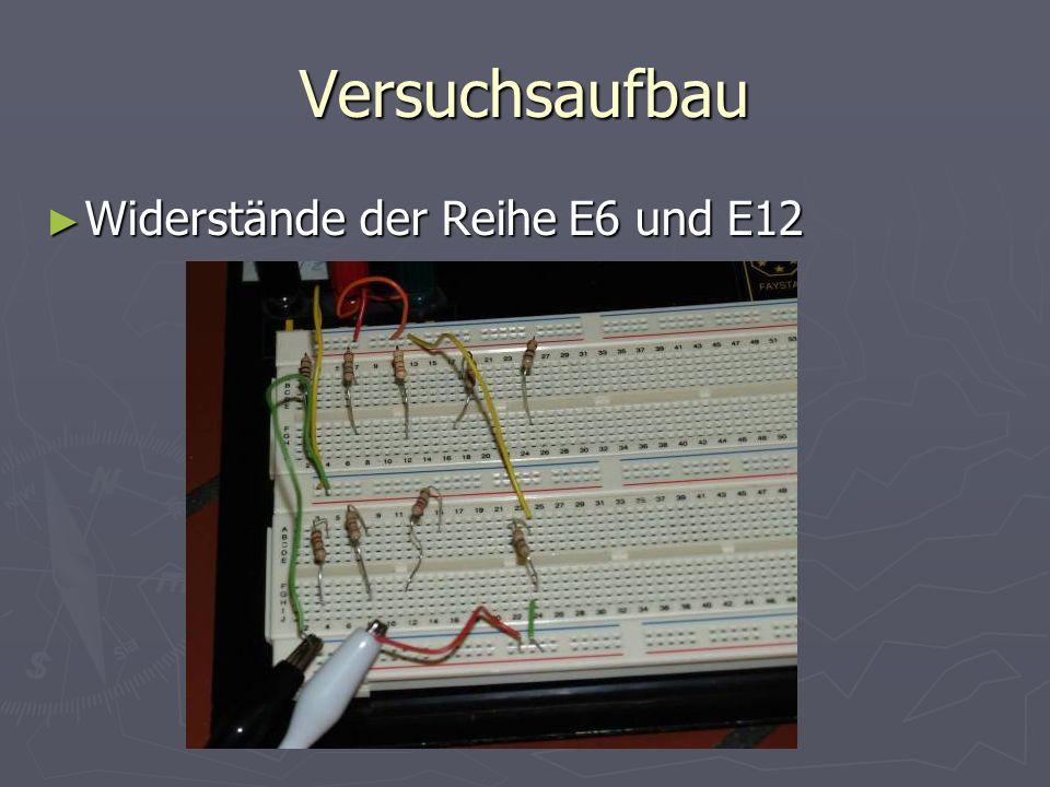 Versuchsaufbau Widerstände der Reihe E6 und E12