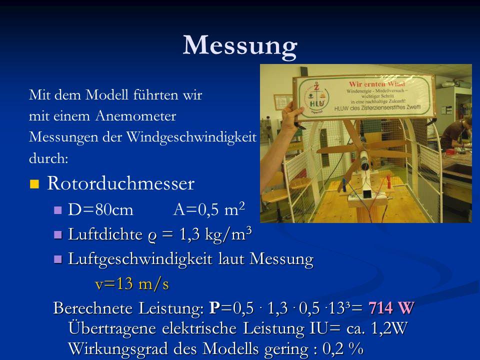 Messung Rotorduchmesser D=80cm A=0,5 m2 Luftdichte ρ = 1,3 kg/m3