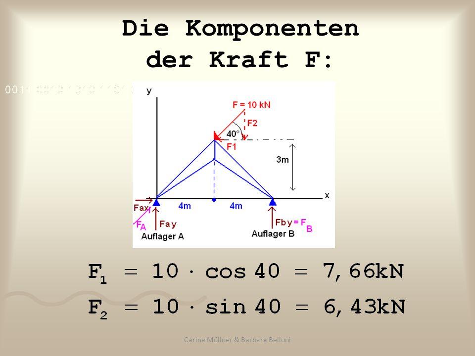 Die Komponenten der Kraft F: