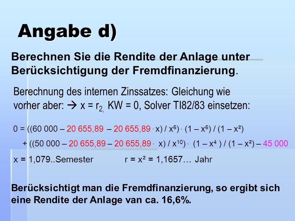 Angabe d) Berechnen Sie die Rendite der Anlage unter Berücksichtigung der Fremdfinanzierung.