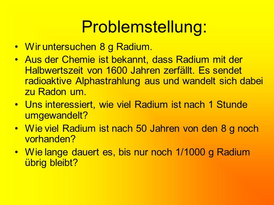 Problemstellung: Wir untersuchen 8 g Radium.