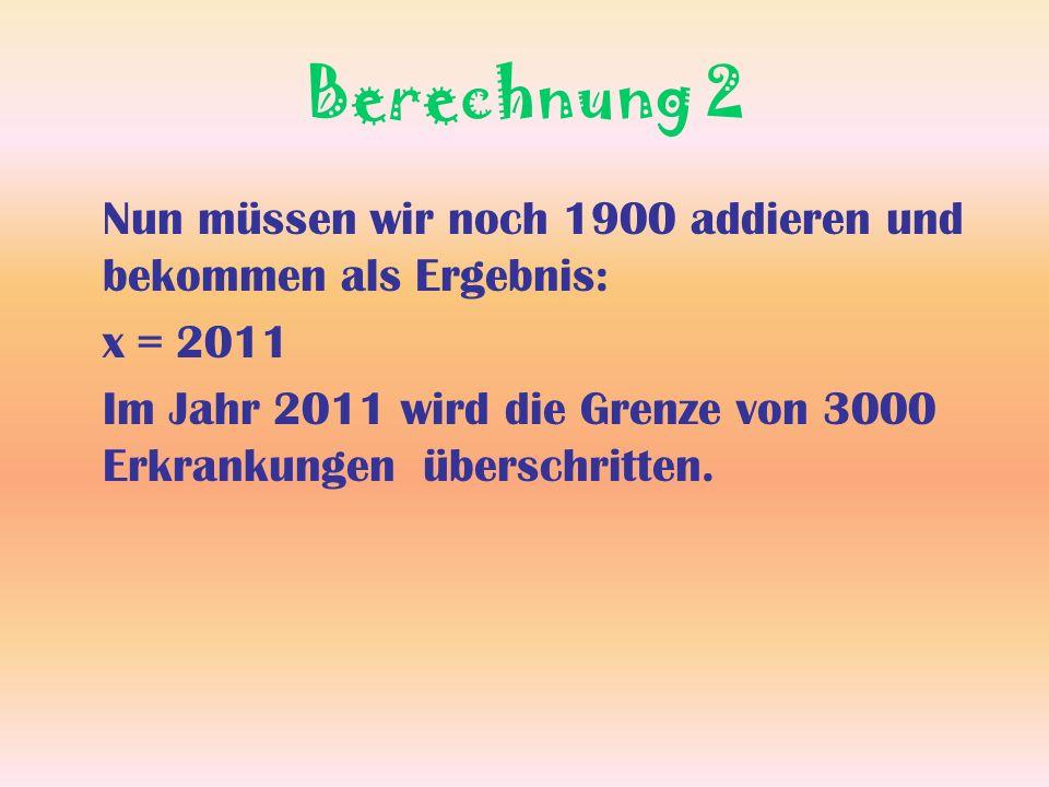 Berechnung 2 Nun müssen wir noch 1900 addieren und bekommen als Ergebnis: x = 2011.