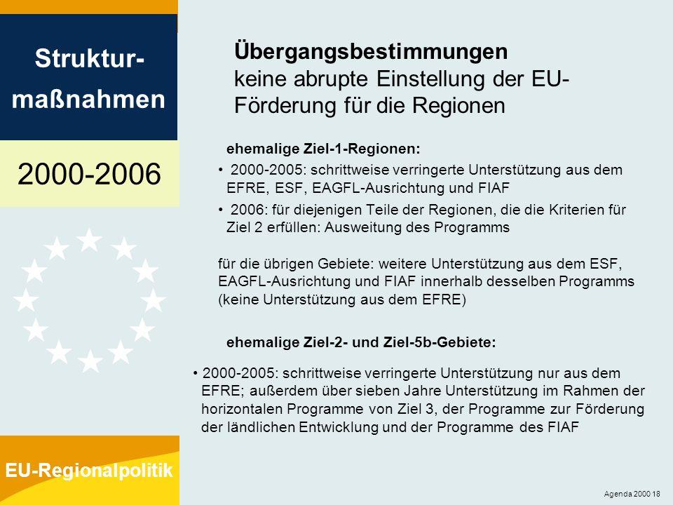 Übergangsbestimmungen keine abrupte Einstellung der EU-Förderung für die Regionen