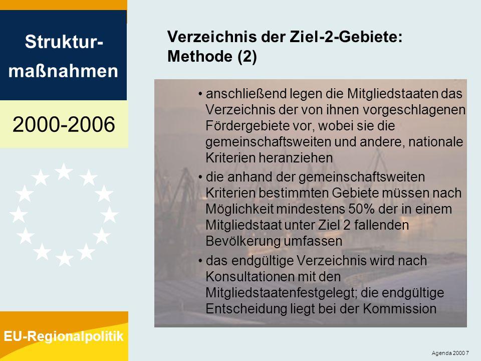 Verzeichnis der Ziel-2-Gebiete: Methode (2)