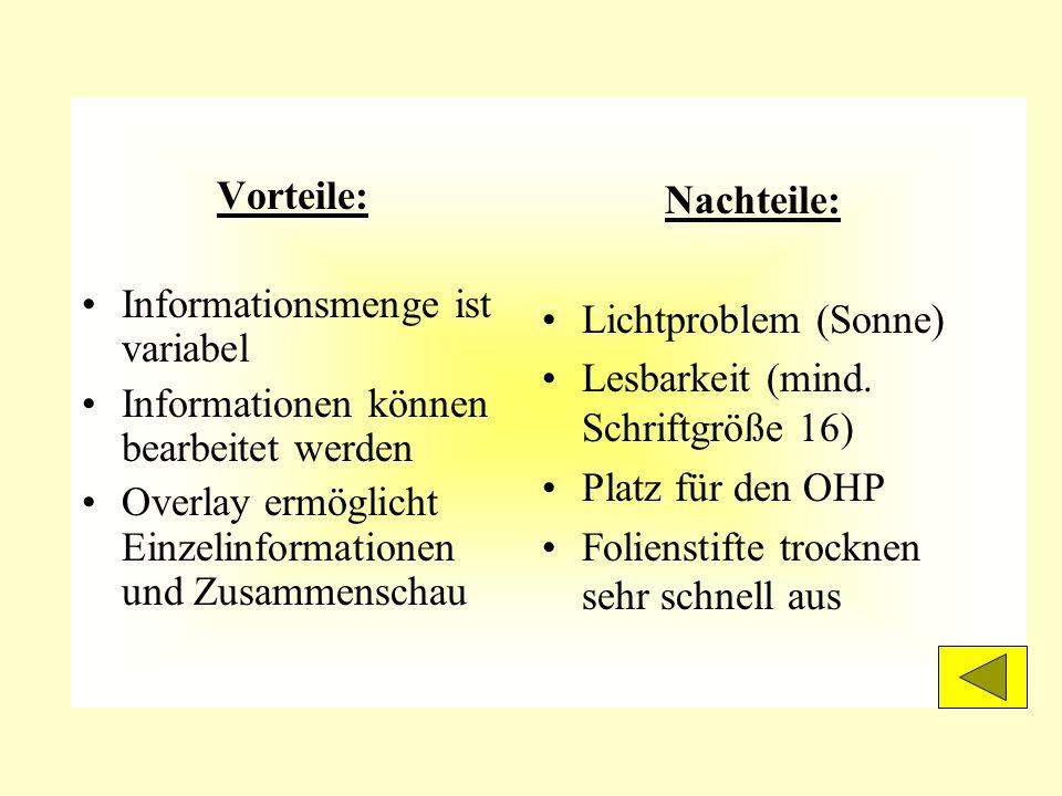 Vorteile: Informationsmenge ist variabel. Informationen können bearbeitet werden. Overlay ermöglicht Einzelinformationen und Zusammenschau.