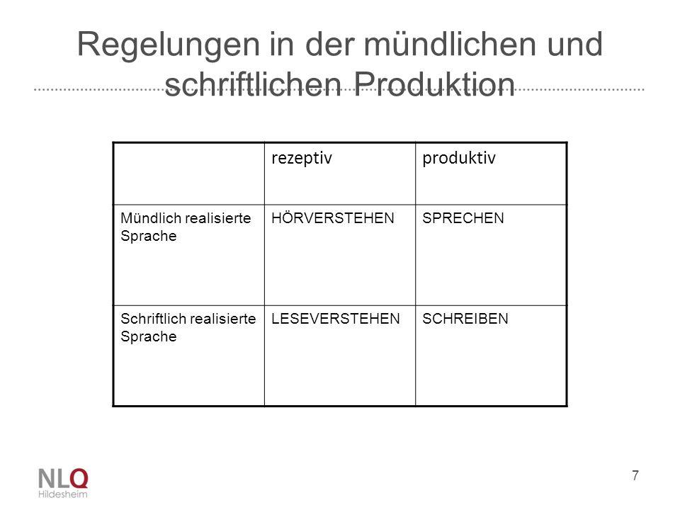 Regelungen in der mündlichen und schriftlichen Produktion