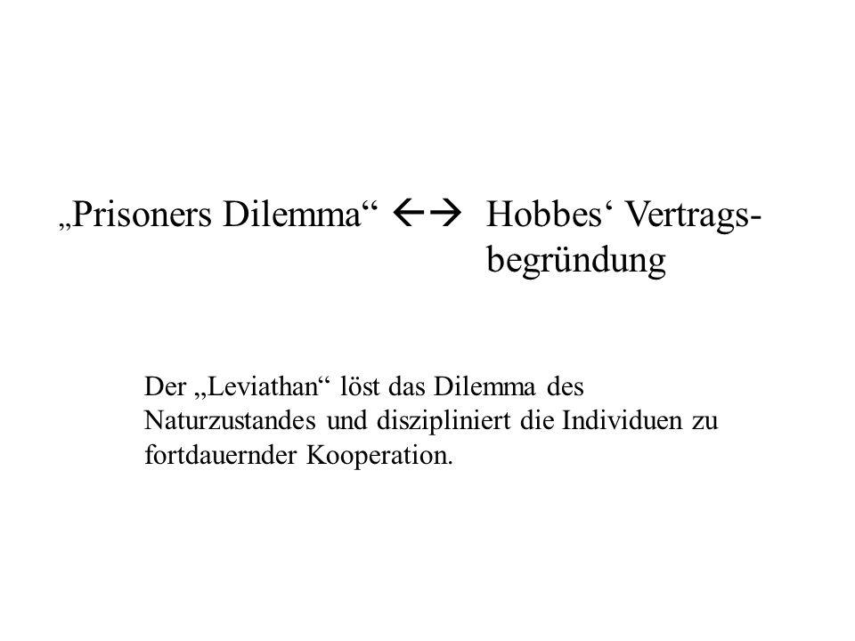 """Letzte Stunde """"Prisoners Dilemma  Hobbes' Vertrags- begründung"""