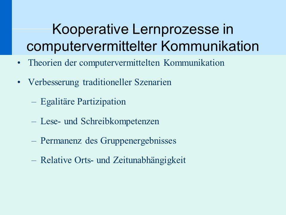 Kooperative Lernprozesse in computervermittelter Kommunikation