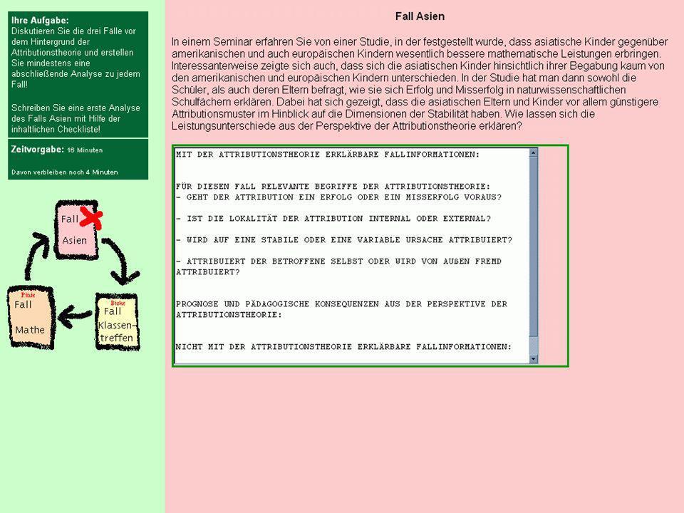 AufgabeZeitvorgabe. Lernumgebungsplan. Beschreibung eines Falles der mit Hilfe der Attributionstheorie gelöst werden konnte.