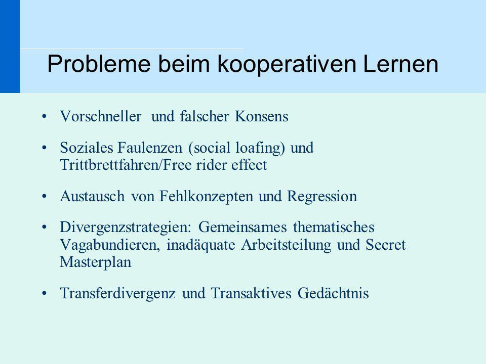 Probleme beim kooperativen Lernen