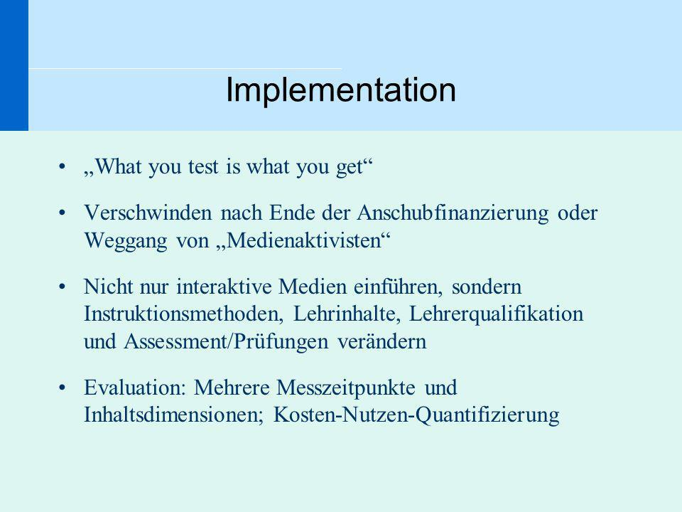 "Implementation ""What you test is what you get"