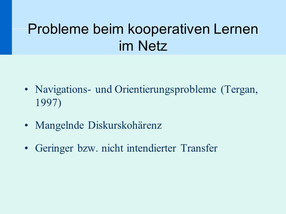 Probleme beim kooperativen Lernen im Netz