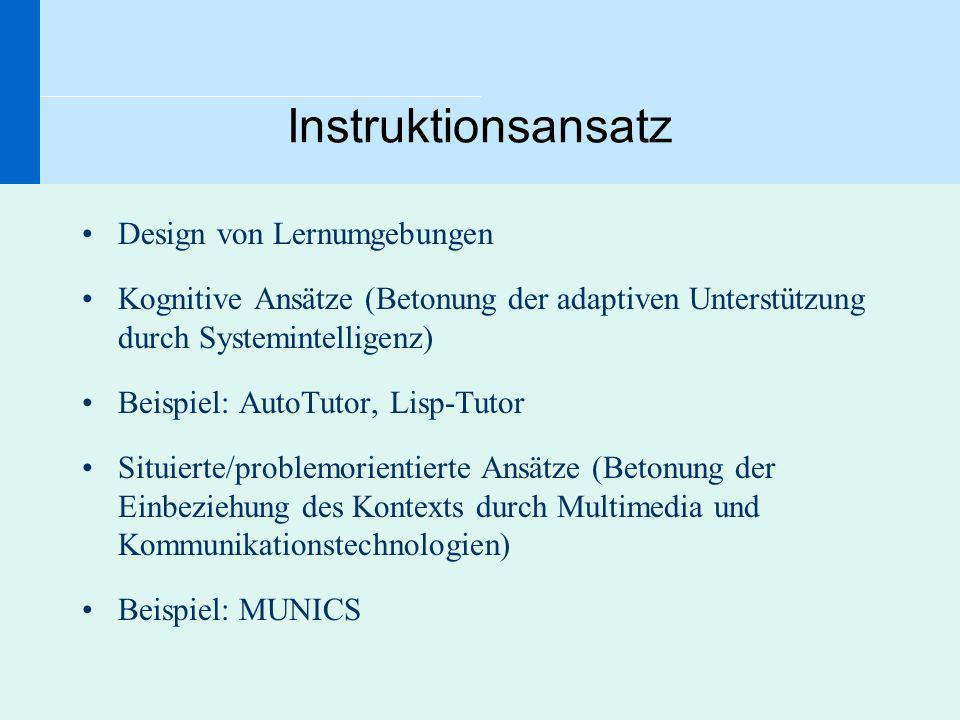Instruktionsansatz Design von Lernumgebungen