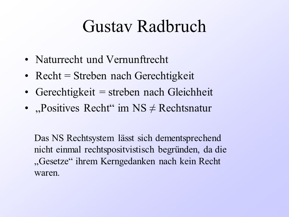 Gustav Radbruch Naturrecht und Vernunftrecht