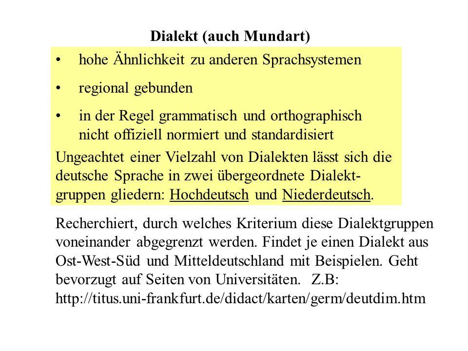 Dialekt (auch Mundart)