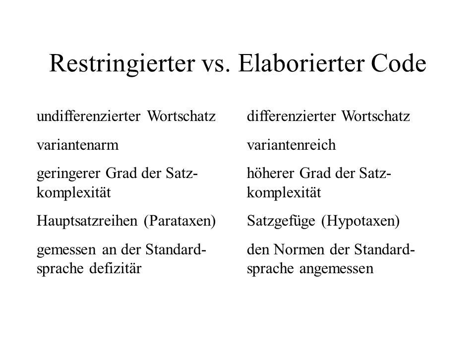 Restringierter vs. Elaborierter Code