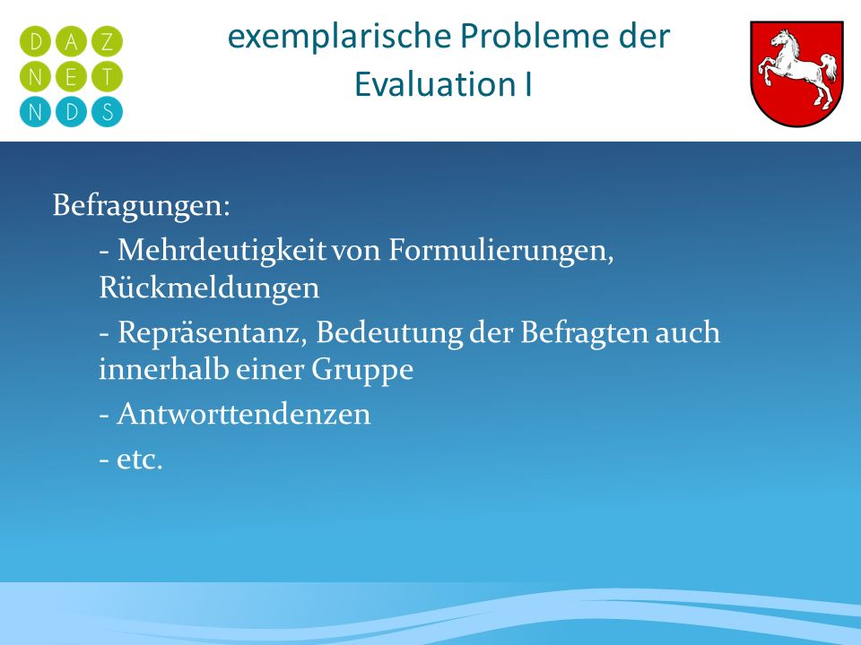 exemplarische Probleme der Evaluation I