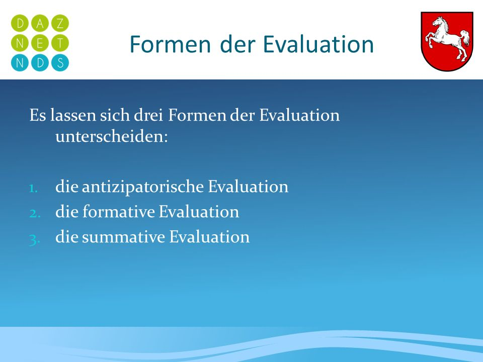 Formen der EvaluationEs lassen sich drei Formen der Evaluation unterscheiden: die antizipatorische Evaluation.