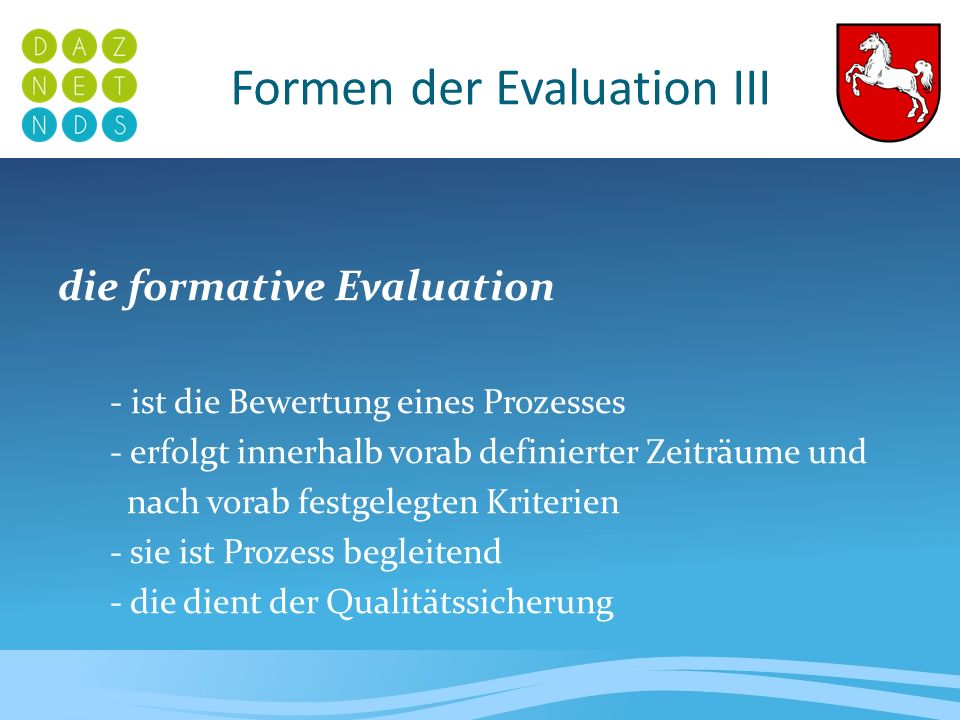Formen der Evaluation III