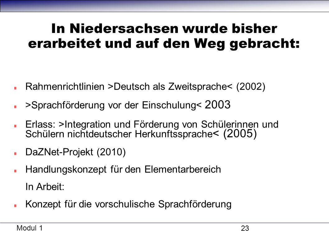 In Niedersachsen wurde bisher erarbeitet und auf den Weg gebracht: