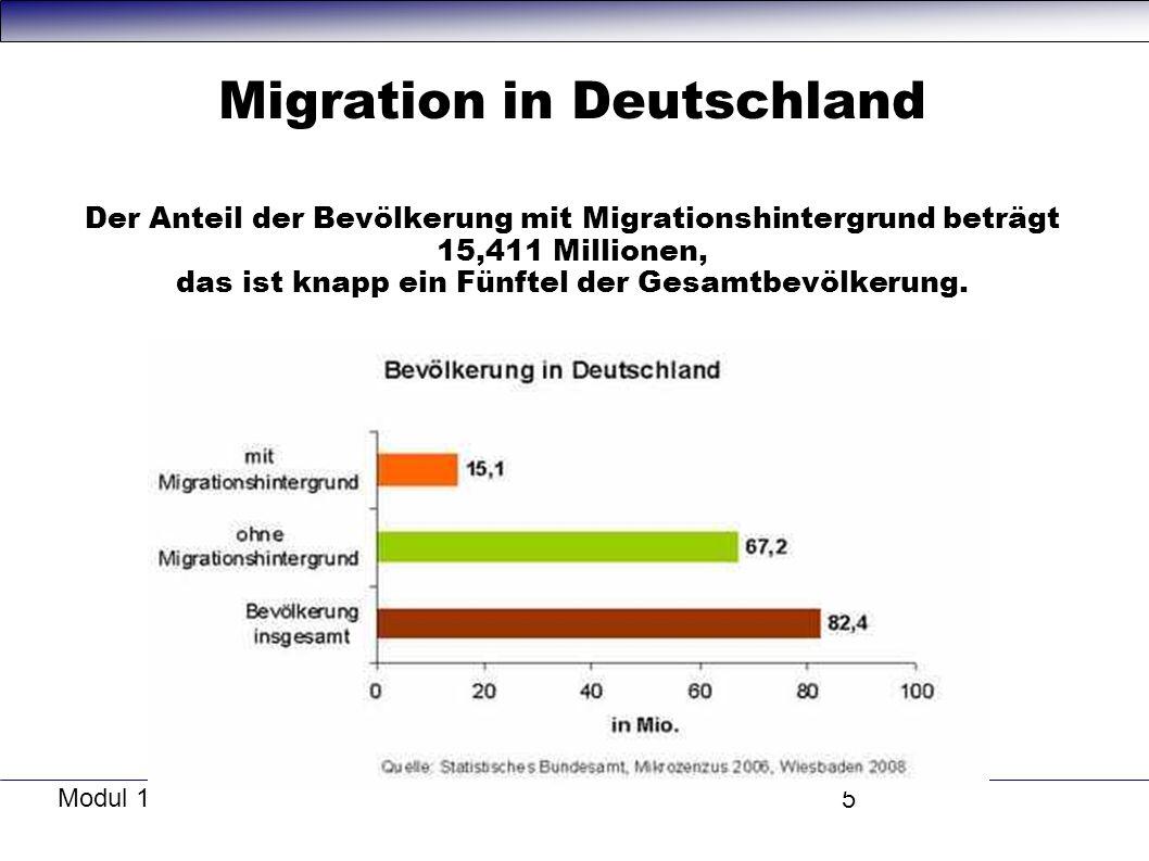 Migration in Deutschland Der Anteil der Bevölkerung mit Migrationshintergrund beträgt 15,411 Millionen, das ist knapp ein Fünftel der Gesamtbevölkerung.