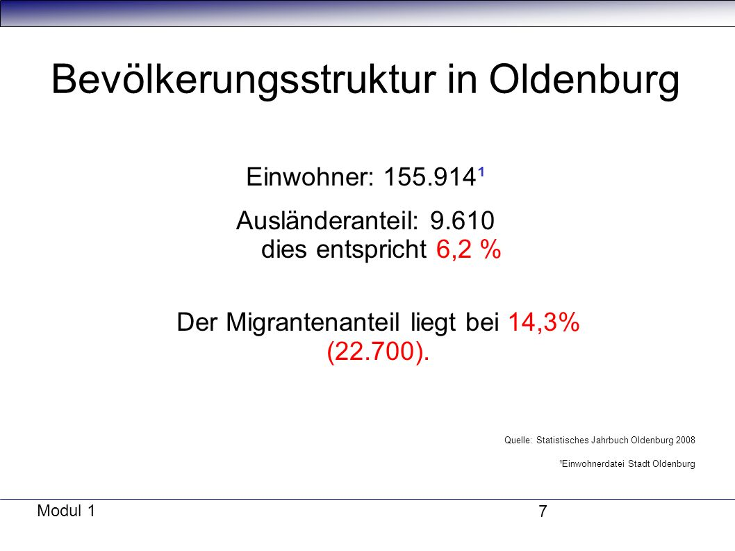 Bevölkerungsstruktur in Oldenburg
