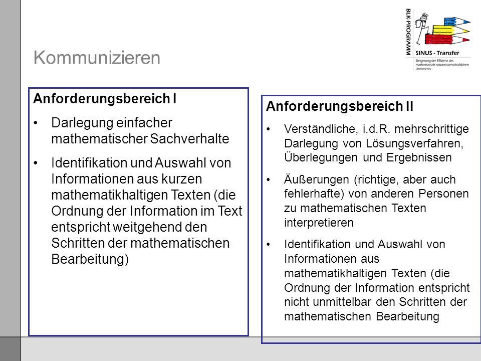 Kommunizieren Anforderungsbereich I