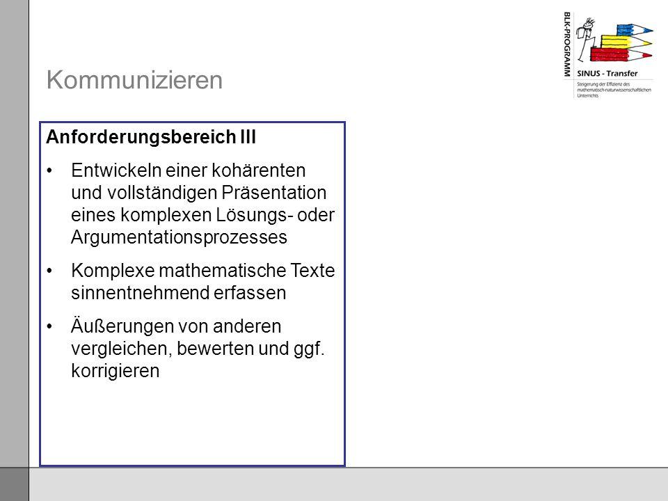 Kommunizieren Anforderungsbereich III
