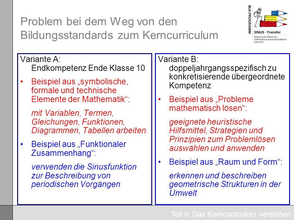 Problem bei dem Weg von den Bildungsstandards zum Kerncurriculum