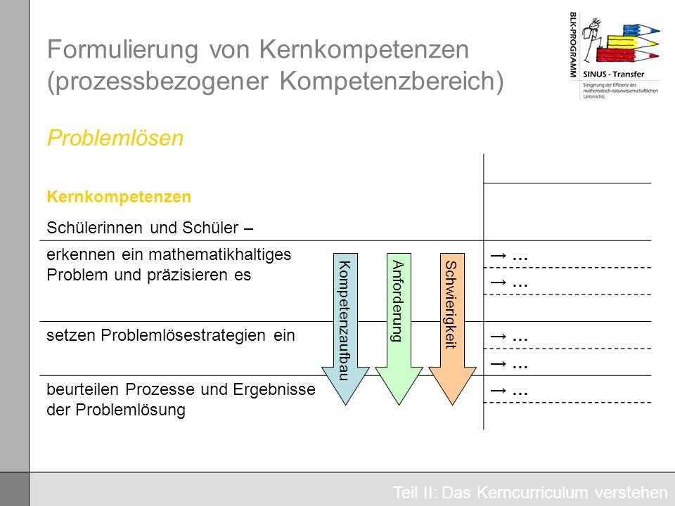 Formulierung von Kernkompetenzen (prozessbezogener Kompetenzbereich)
