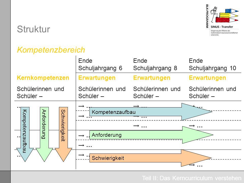 Struktur Kompetenzbereich Ende Schuljahrgang 6 Ende Schuljahrgang 8