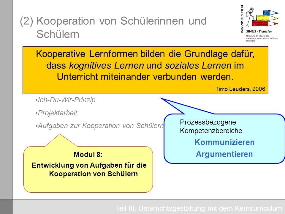 (2) Kooperation von Schülerinnen und Schülern