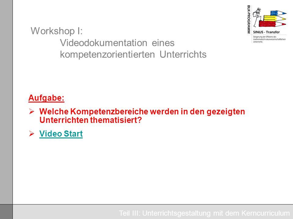Workshop I: Videodokumentation eines kompetenzorientierten Unterrichts