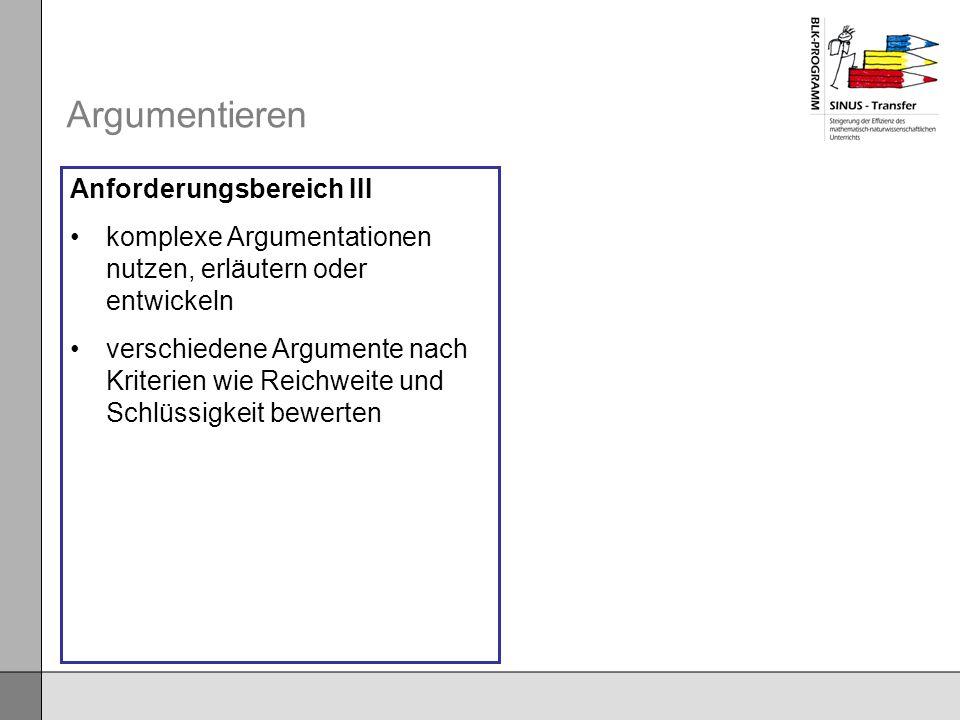 Argumentieren Anforderungsbereich III
